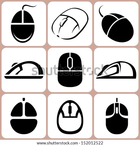 computer mouse icons set - stock vector