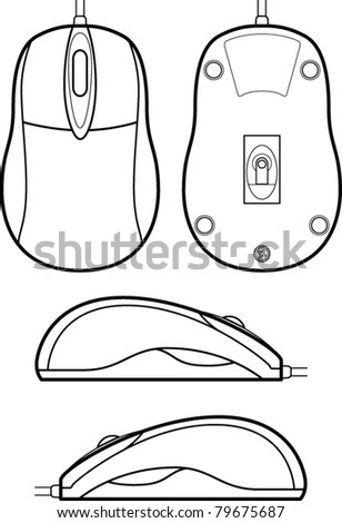 computer mouse line art - stock vector