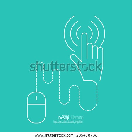 Computer mouse pointer to click the dotted line connected. minimal, outline. - stock vector