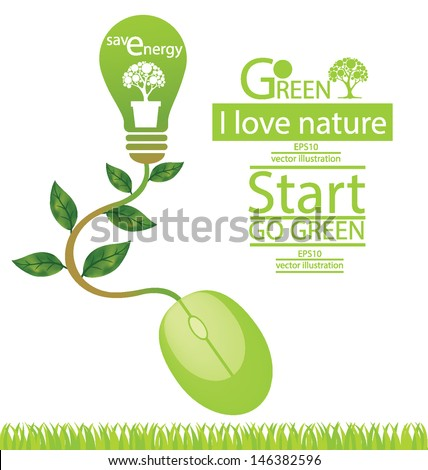Computer mouse. Tree design. Green concepts save energy. vector illustration.