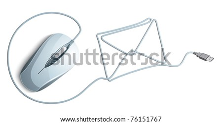 computer mouse with mail envelope - stock vector