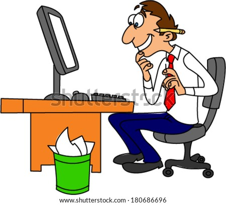 Computer nerd looking very happy while browsing the Internet - stock vector