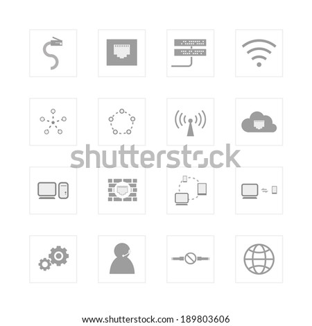 Computer Network and communication icon set. Designed for illustration, infographics, web icon, report, presentation, template and more in your business - stock vector