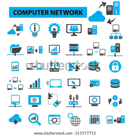 Computer network concept icons: cloud computing,  server,  server room,  data center,  server rack,  computer server, computer technology, system administration. Vector illustration - stock vector