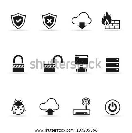 Computer network icon set  in single color - stock vector