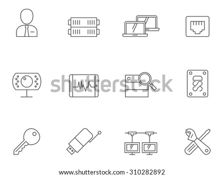 Computer network icons in thin outlines. Connections, internet. - stock vector