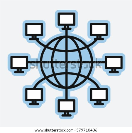 Computer networks earth globe, World Wide Web concept, vector illustration   - stock vector