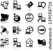 Computer networks related icons/ silhouettes. - stock vector