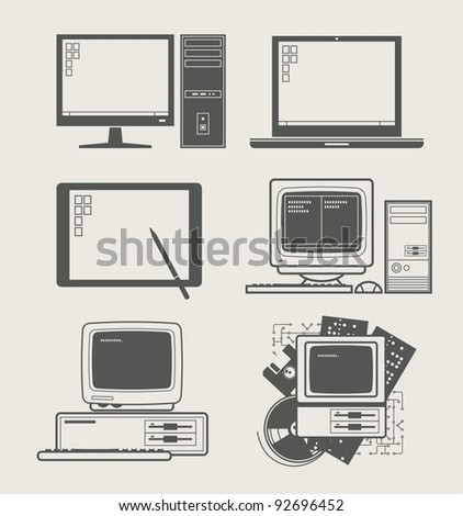 computer new and old set icon vector illustration - stock vector