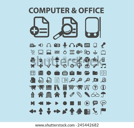 computer, office, devices, administration icons, signs, vector illustrations - stock vector