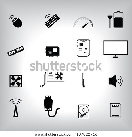 Computer part icon set - stock vector
