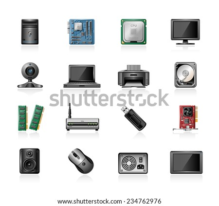 Computer part icons - stock vector