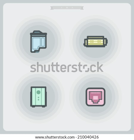 Computer parts and accessories, pictured here from left to right - Inkjet printer cartridge, Laser printer cartridge, UPS, LAN socket. - stock vector