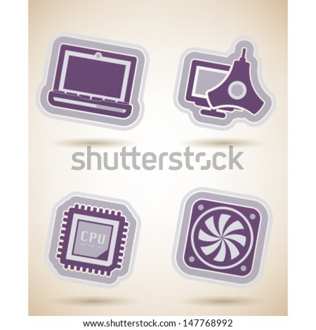 Computer parts and accessories, pictured here from left to right, top to bottom:  Laptop, Color Profile Monitor Calibrator, CPU Processor, Mainboard Fan.  - stock vector
