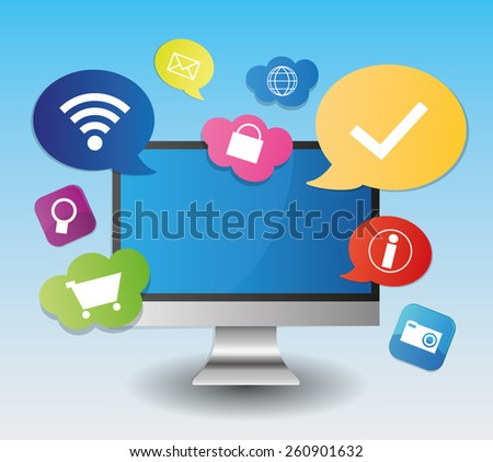 Computer PC screen app application isolated - stock vector