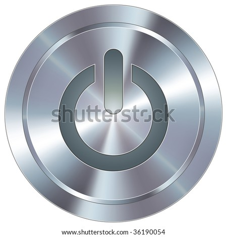 Computer power icon on round stainless steel modern industrial button - stock vector