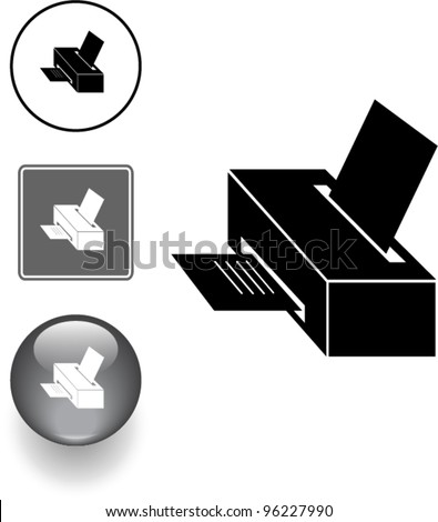 computer printer symbol sign and button - stock vector