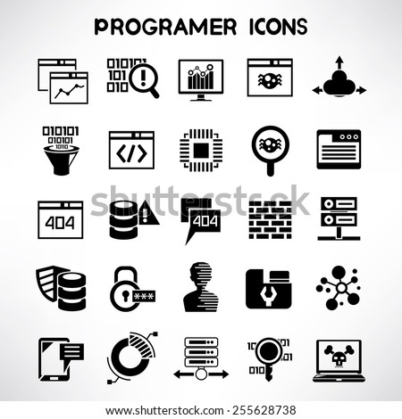 Computer Programer Icons Programming Icons Set Stock Vector 2018