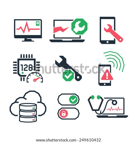 Computer repair icons set 01  // Color - stock vector