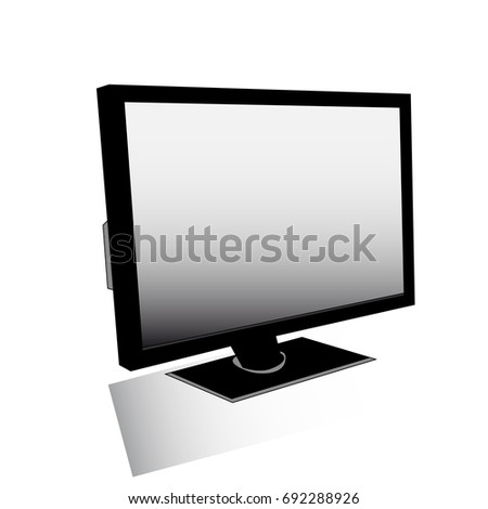 Computer screen, monitor on white background.vector