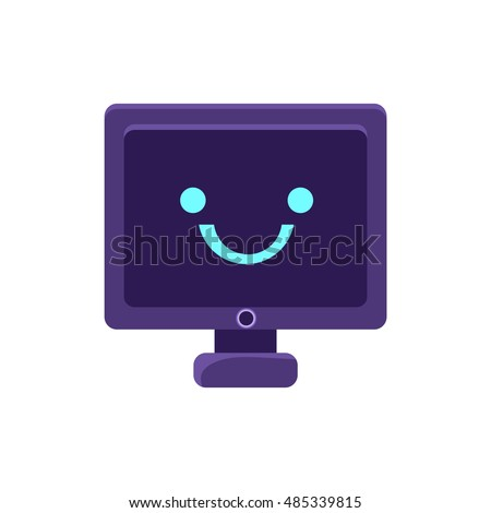 Computer Screen Primitive Icon Smiley Face Stock Vector 485339815