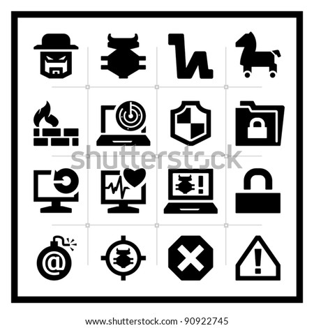 Computer Security icons set - square series - stock vector