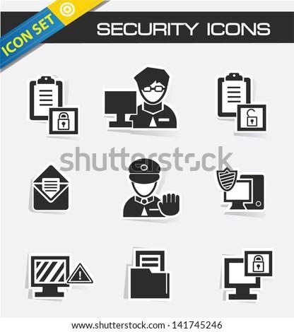 Computer security icons,vector - stock vector