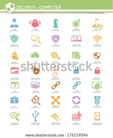 Computer security,Virus computer icons,Colorful version,vector - stock vector
