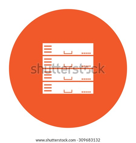 Computer Server. Flat white symbol in the orange circle. Vector illustration icon - stock vector