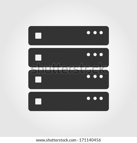 Computer Server icon, flat design - stock vector