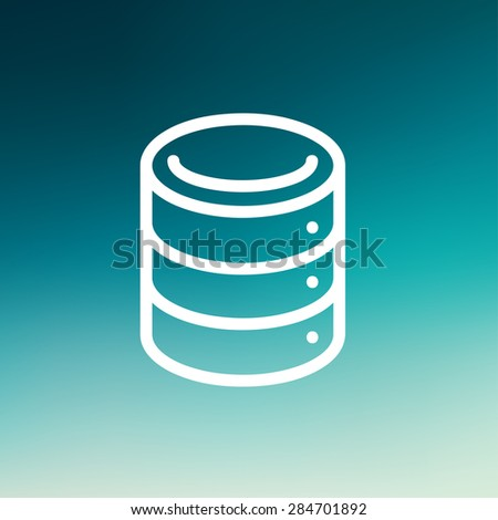 Computer server icon thin line for web and mobile, modern minimalistic flat design. Vector white icon on gradient mesh background. - stock vector