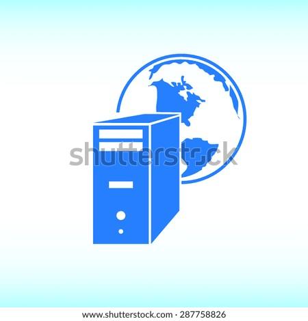computer server icon, vector illustration. Flat design style. - stock vector