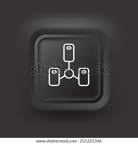 Computer Server on Black  Bevel Square Buttons