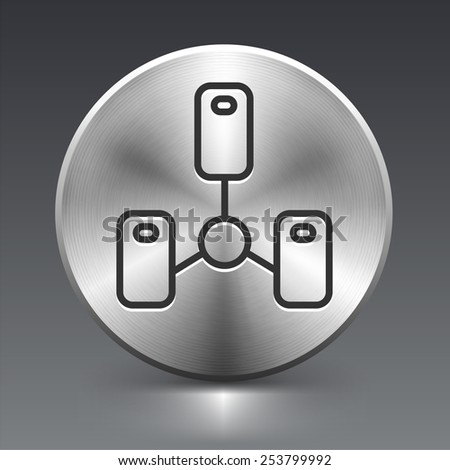 Computer Server on Silver Round Buttons