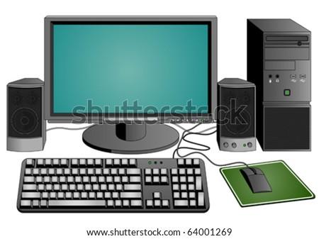 computer set  (vector) - stock vector