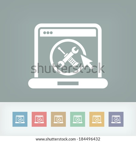 Computer setting icon - stock vector
