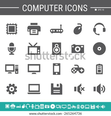 Computer simple black icons - stock vector