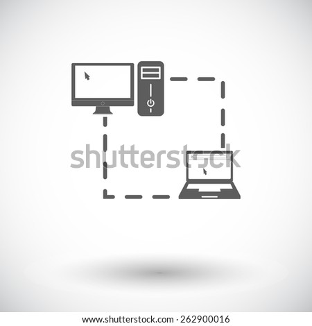 Computer sync. Single flat icon on white background. Vector illustration. - stock vector