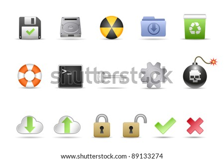 Computer System Icon Set - stock vector