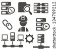 Computer system icon set,vector - stock vector