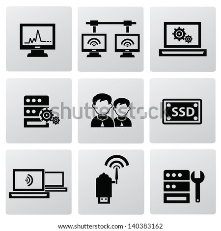 Computer system icons,vector - stock vector
