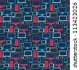 Computer, tablet and mobile icons seamless pattern over social media background. Vector illustration layered for easy manipulation and custom coloring. - stock vector