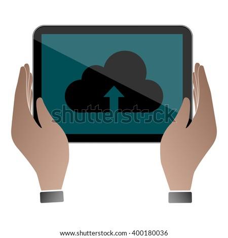 Computer tablet / Computer tablet Object / Computer tablet Picture / Computer tablet Drawing / Computer tablet Image / Computer tablet Graphic / Computer tablet technology / cloud / cloud technologies - stock vector