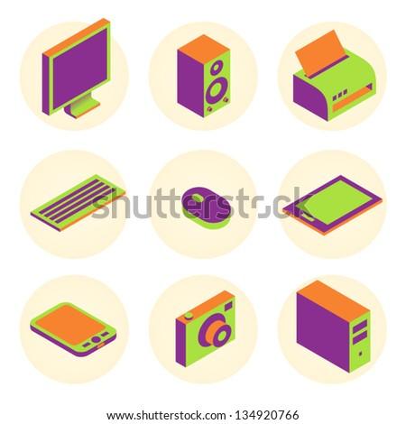 computer tablet pc display monitor camera element set - stock vector