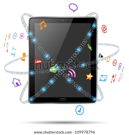 computer tablet with icons vector