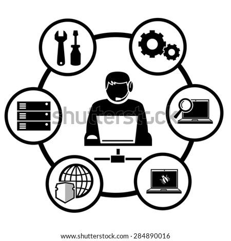 Computer technician icons vector. - stock vector