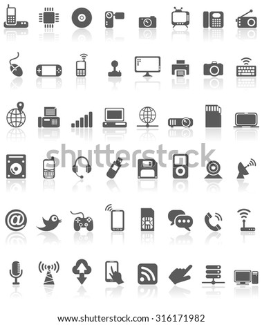Computer Technology Icon Collection Black on White - stock vector