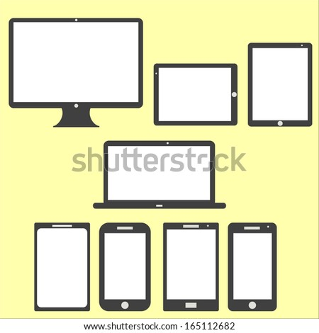 Computer Technology Screen Set - Laptop, Tablet PC, Smart phone new Digital Technology flat design in vector - stock vector