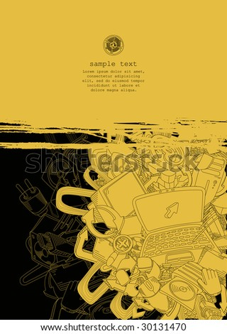 computer theme- line drawing-yellow and black-vector - stock vector