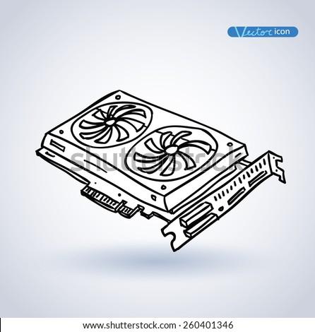 computer video card. vector illustration. - stock vector